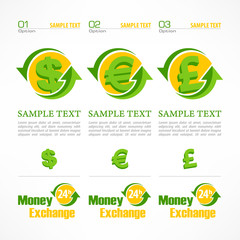 Money symbol infographic, money signs with arrow on white,