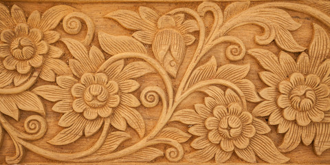 flower carved on wood