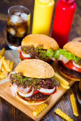 Hamburgers, french fries and cola. fast food