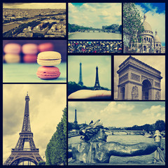 collage of different landmarks in Paris, France, cross processed