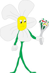 Flower arms and legs holding flowers