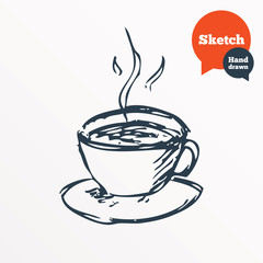 Hand drawn coffee cup. Sketched hot tea drink.