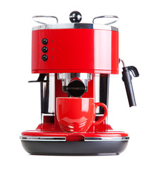 Red coffee machine