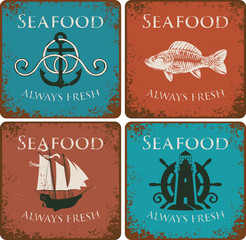 set of banners for restaurants and seafood stores