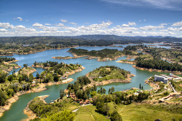 view over the lakes of Guatape near Medellin, Colombia