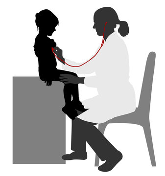 Pediatrician examining of child with stethoscope silhouette - vector