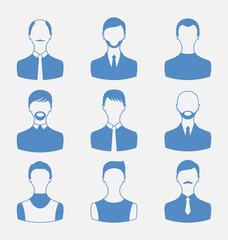 Avatars set front portrait of males isolated on white background