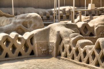 Wall of the ruins of Chan Chan near Trujillo, Peru