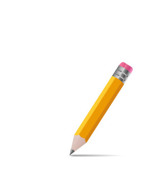 Sharpened wooden pencil with shadow, on white background