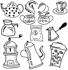 Drawn picture with coffee and tea stuff