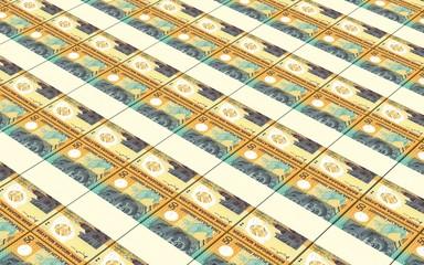 Malaysian ringgit bills stacks background.