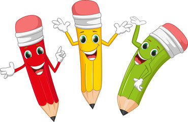 happy pencil cartoon