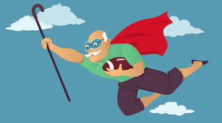 Senior man in a superhero cape and a mask flying with a football and a cane in his hands, EPS 8