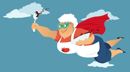 Senior woman in a superhero cape and a mask flying with a bowl of chocolate cake butter or pudding in her hands, EPS 8