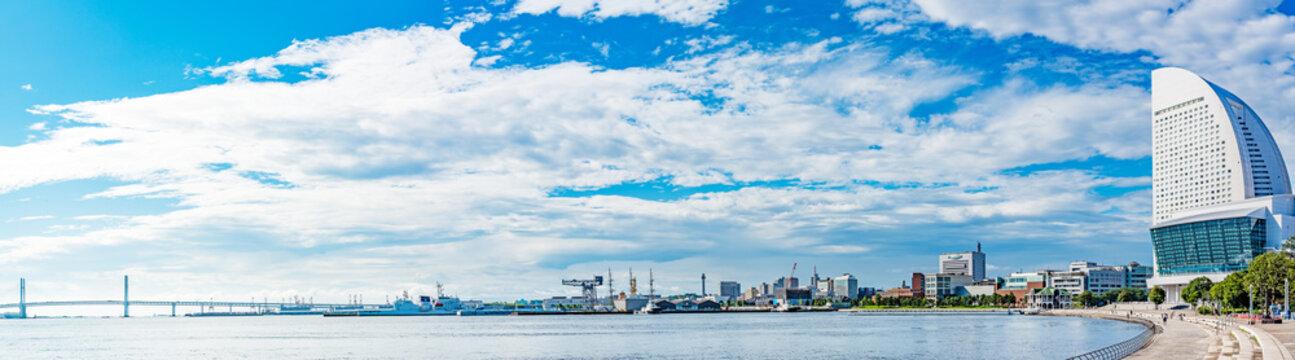 Port of Yokohama viewed from the Rinko Park in Yokohama, Japan.