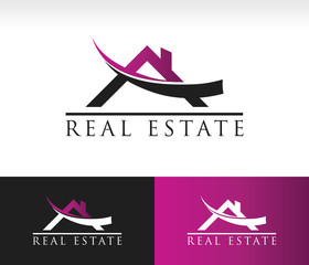 Real estate logo icon with roof and swoosh graphic element