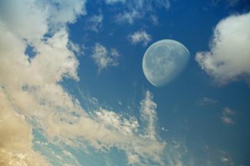 big moon in the evening sky