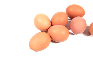 Chicken eggs isolated on white
