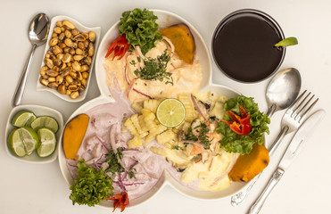 Peru Dish: 3 types of Cebiche (ceviche), chicha drink, canchita.