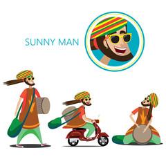 Set of sunny man
