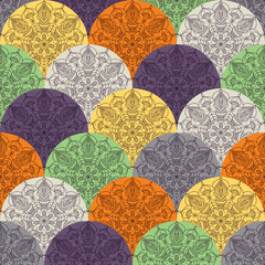 Wall Mural - Waves pattern with circular ornaments