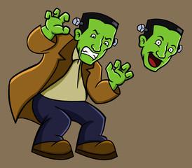 Green Frankenstein ready for Halloween party.