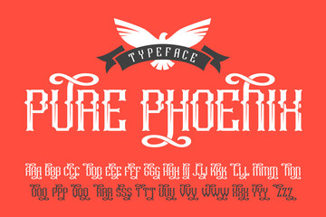 Pure Phoenix typeface with bird and ribbon badge