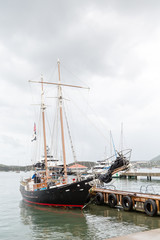 Two Masted Black Sailboat