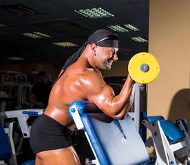 Handsome athletic man bodybuilder