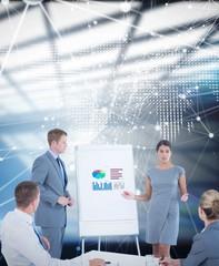Composite image of business people doing statistics presentation