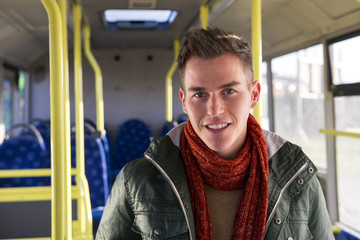 Young man on a bus