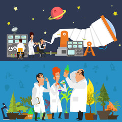 astronomers study the sky in a modern telescope and use modern equipment.  botanists study plants in the greenhouse. scientists engaged in important work. Banner. vector illustration.