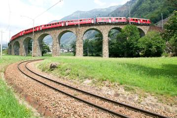 Bernina Express Train at Brusio on the Swiss alps