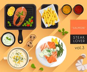 Food Illustration : Steak : Salmon
