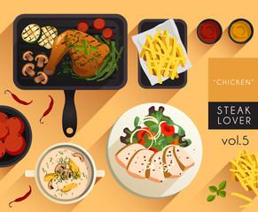Food Illustration : Steak : Chicken