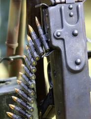 machine gun with Strip bullets and ammunition army