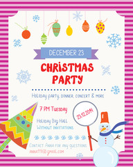 Christmas party funny poster with decorations and text template