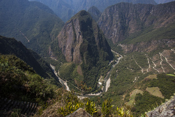 View from Waynapicchu to  Machu Picchu and bus road, Peruvian  H
