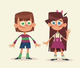 Cartoon kids isolated. Boy and girl. Vector illustration.
