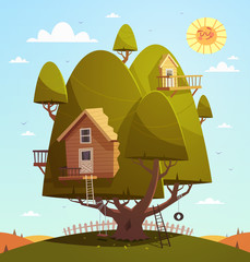 Tree house. Kids background. Vector illustration.