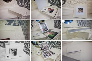 white classic leather photo book and album