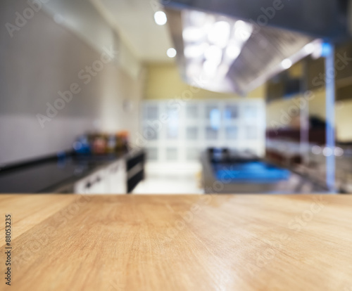 "Kitchen Table Top Background table top counter with blurred kitchen interior background"" stock"