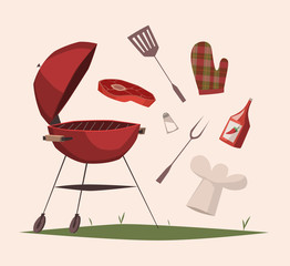 BBQ equipment. Vector illustration.