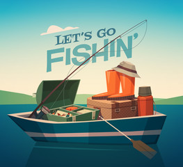 Fishing boat. Vector illustration.