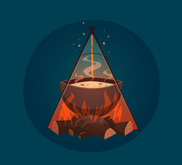 Cooking on campfire. Vector illustration.