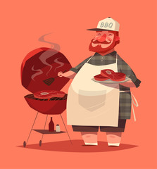 BBQ chef. Vector illustration.