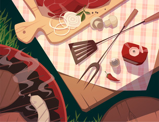 BBQ party. Vector illustration.