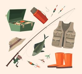 Fishing equipment. Vector illustration.