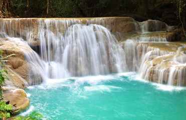 Recess Fitting Waterfalls Huay Mae Khamin, Paradise Waterfall located in deep forest of Th