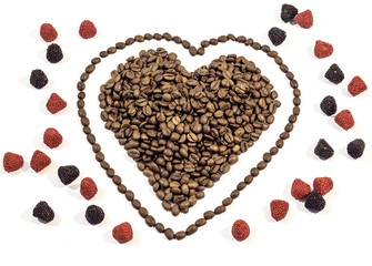 Coffee beans in heart shape with line around heart with gummy ra